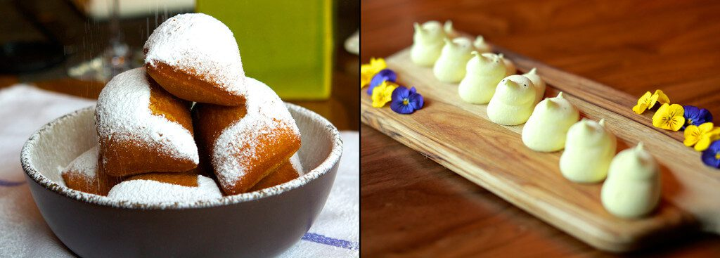 Composite of beignets and house-made yellow marshmallow peeps.