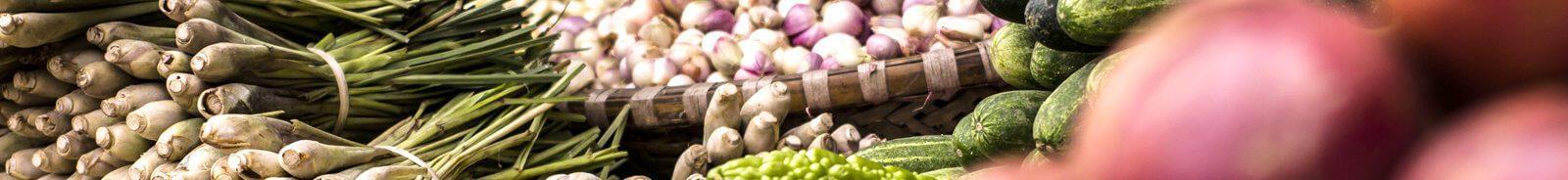 Farmers' market shallots, zucchini, and green onions.