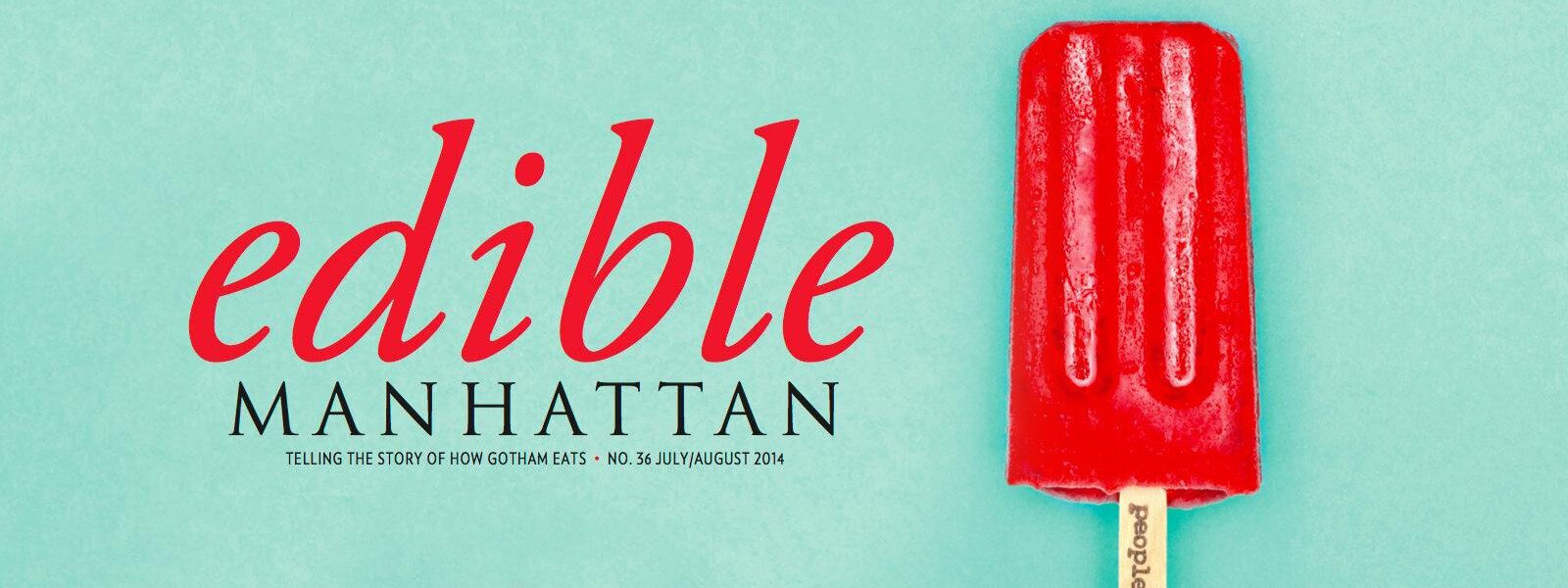 Edible Manhattan cover with red popsicle.