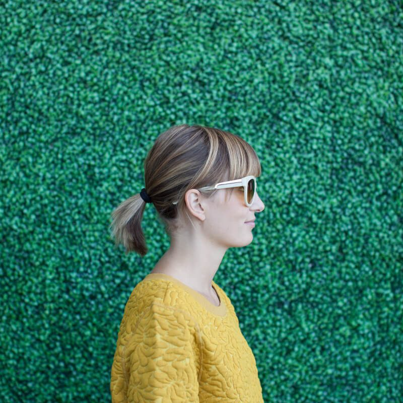 Profile of Forager Meghan Boledovich in sunglasses.