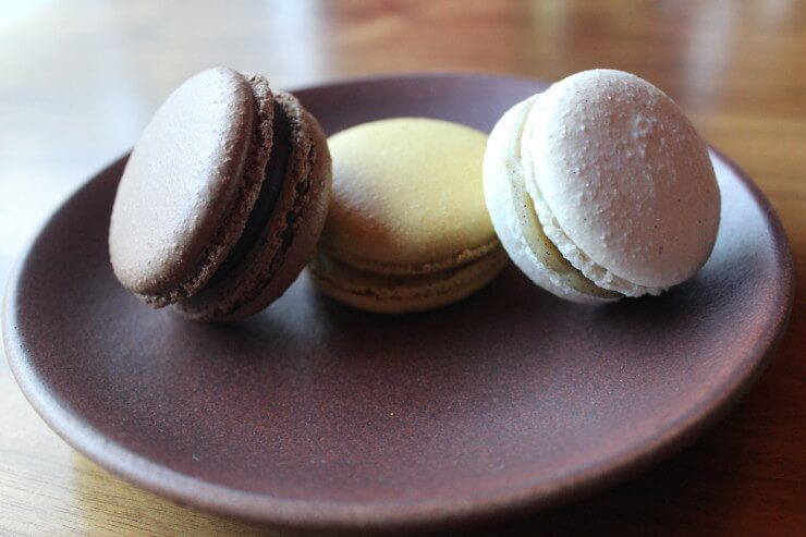 Trio of French macaron on a plate.