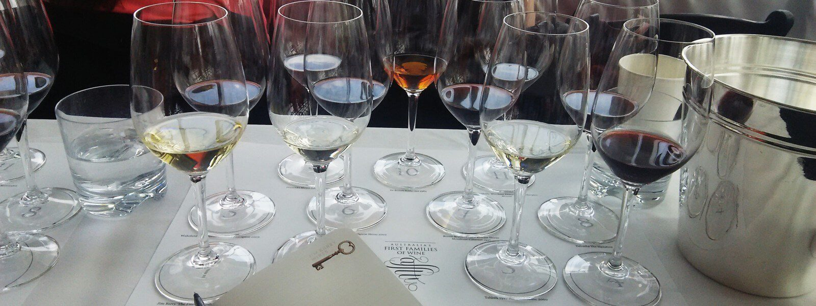 Wine glasses set up for a tasting at Press.