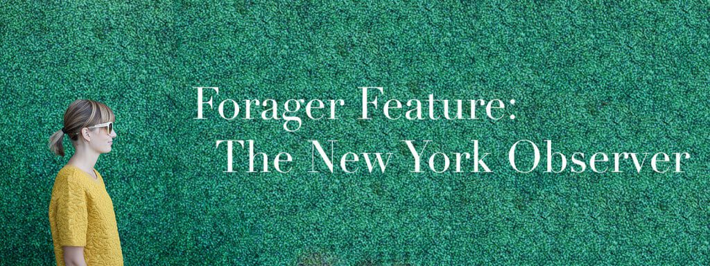 """Meghan in profile with text """"Forager Feature: The New York Observer."""""""