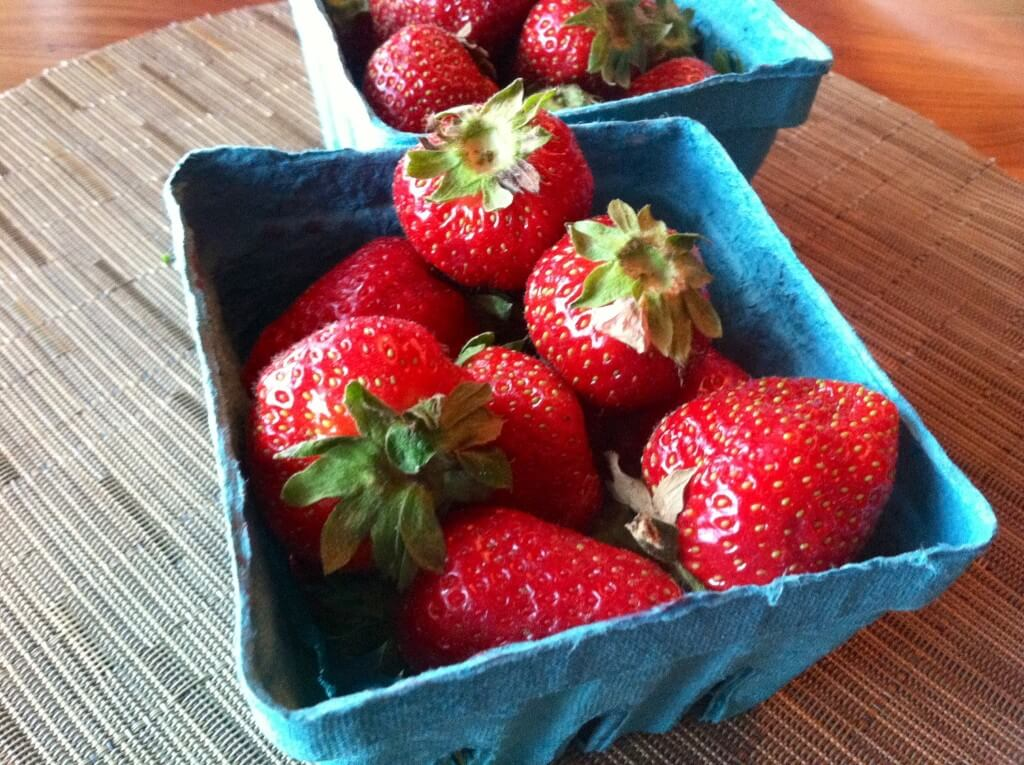 A punnet of strawberries.