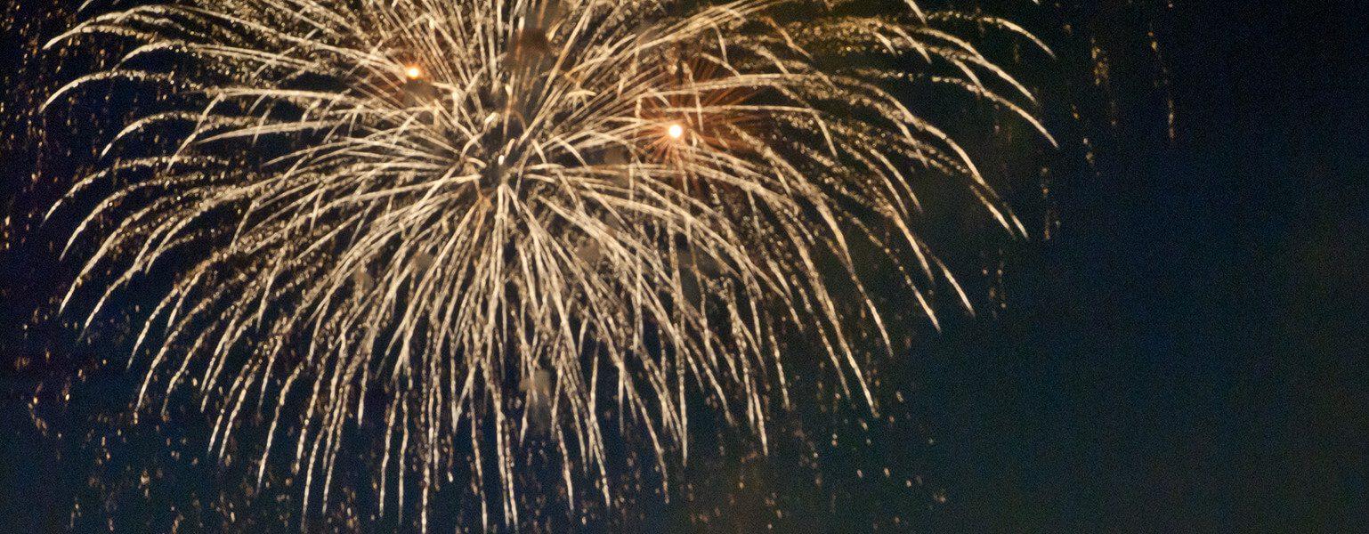 Fireworks bursting.