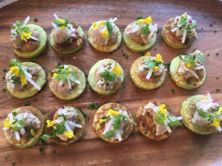 Ramp Blini, Raven & Boar Pork Rillette, Rhubarb Mustard Chutney, Radish, Broccoli Flowers.