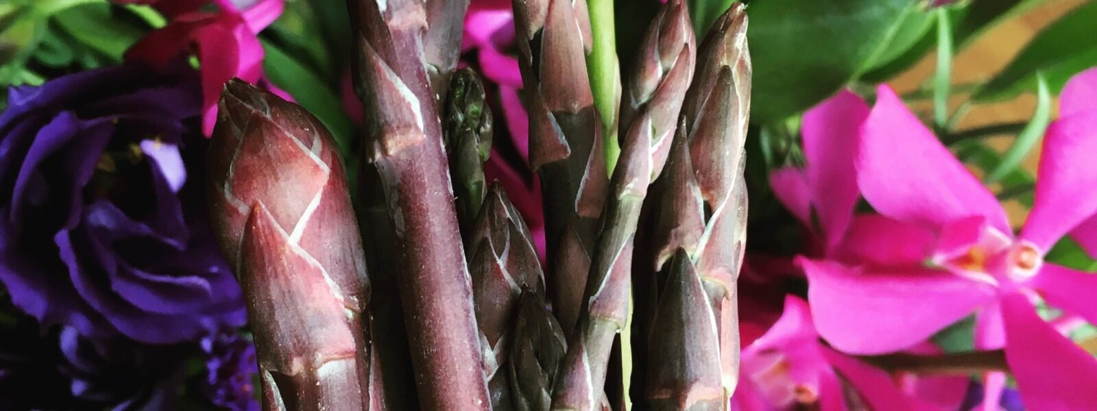 Purple asparagus and flowers.