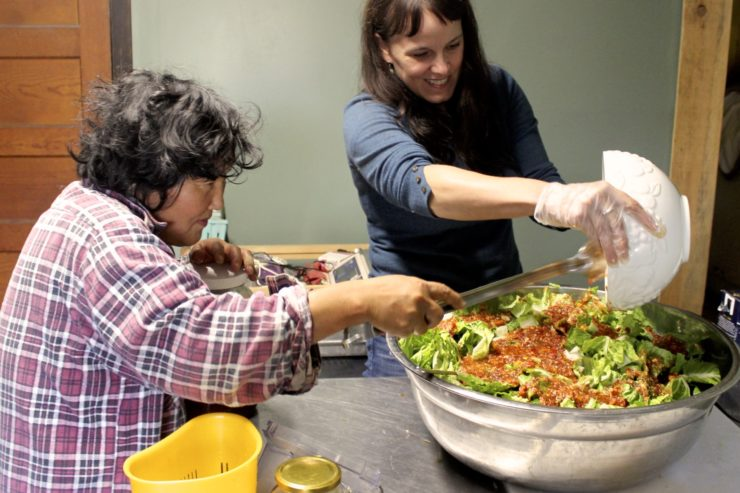 Ji and Amy preparing kimchi.
