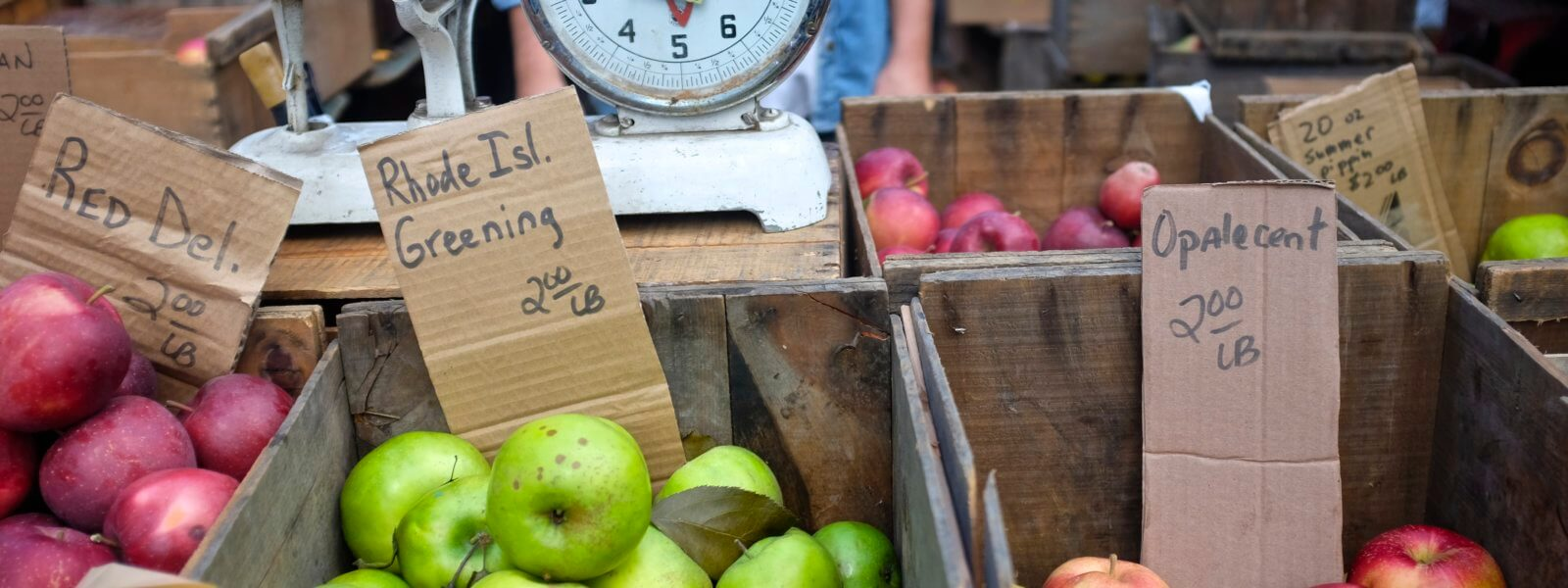 Apples and a produce scale at the farmer's market.
