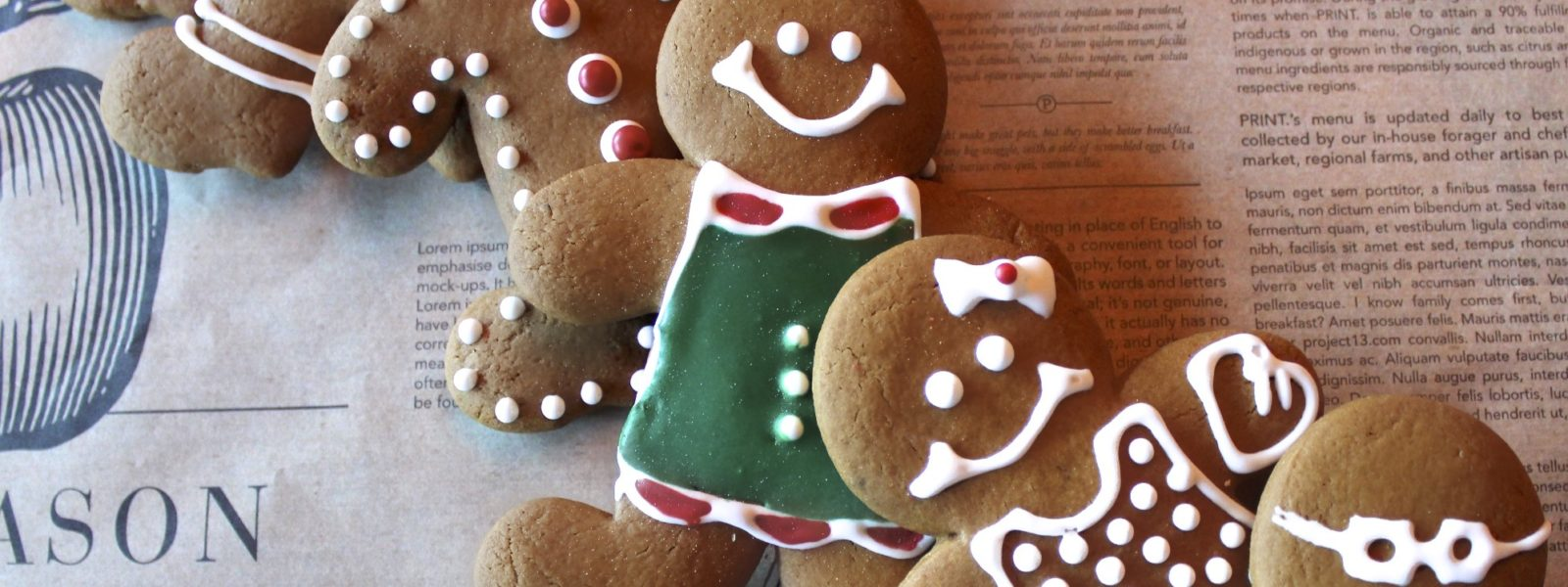 4 decorated gingerbread cookies.