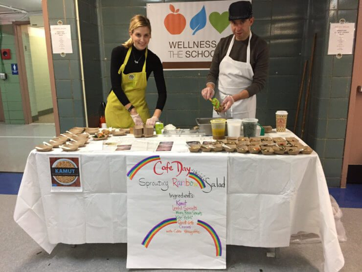 Meghan and Charles preparing salads for WITS Cafe Day.