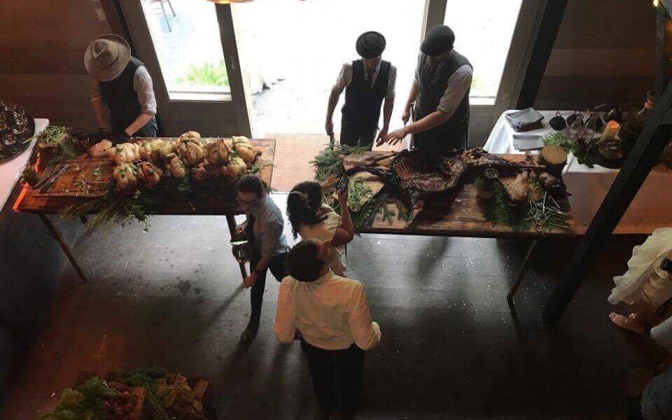 Overhead view of food being prepared.