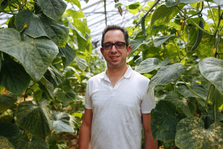 Chef Charles Rodriguez in a greenhouse among tall plantings.