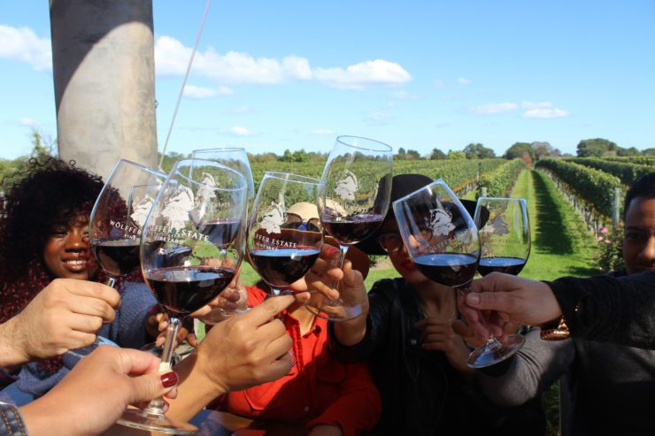 Staff toasting with red wine in Wolffer glasses.