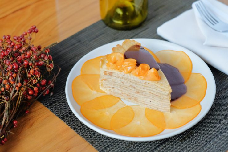 Crepe cake with roasted chestnut cream, Maker's Mark, persimmons, and dark chocolate sorbet.