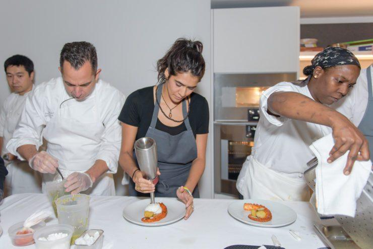 Daniela Soto-Innes and PRINT team members plating octopus dish.