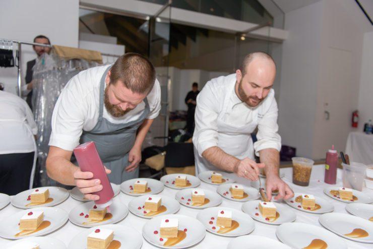 Gunnar Gislason and Miro Uskokovic plating Serbian lazy apple pie.