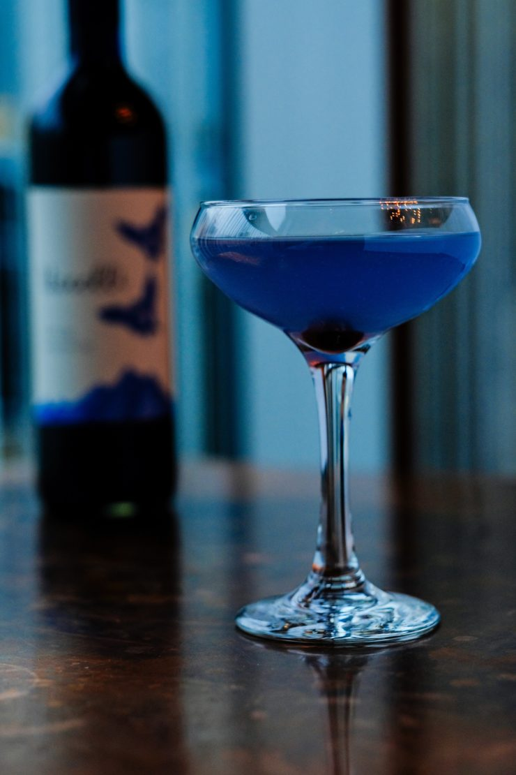 Closeup of Violet Hour cocktail.