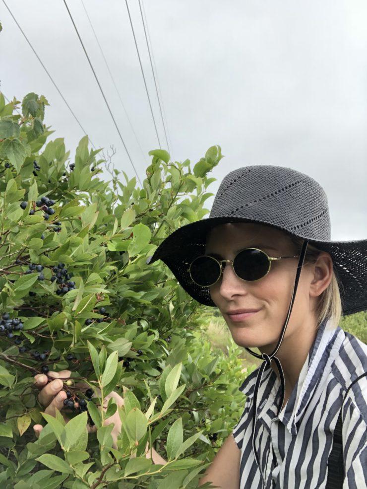 Forager Meghan harvesting berries.