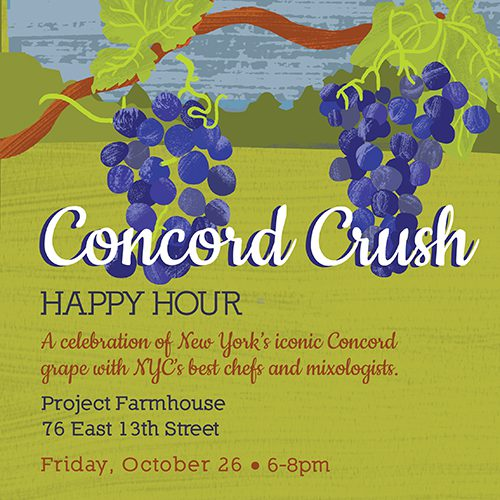 Informational image about Concord Crush Happy Hour with text.