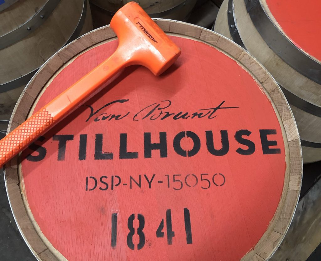 Top of Van Brunt Stillhouse barrel and mallet.