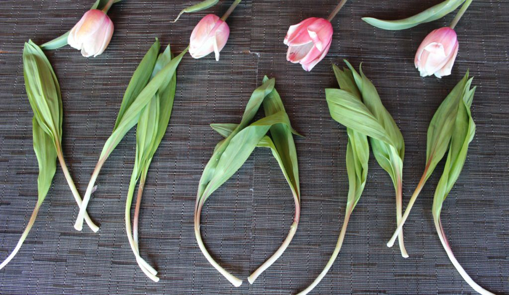 """Mom"" spelled out with ramps and tulips."