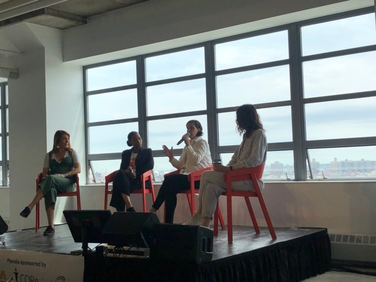 4 female chefs and restauranteurs speaking at conference.