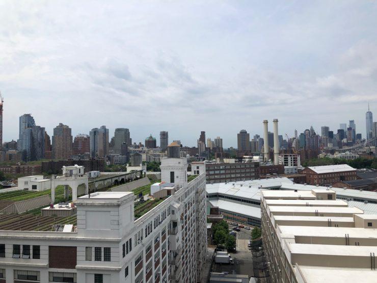 View of the Brooklyn Navy Yard and Brooklyn Grange Urban Rooftop Farm.