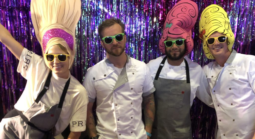Forager Meghan Boledovich, Chef Gary King, and 2 others in sunglasses and hats for Drag Brunch.