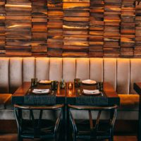 Banquette seating in restaurant.